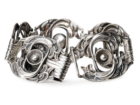 Retro Abstract Floral Silver Bracelet