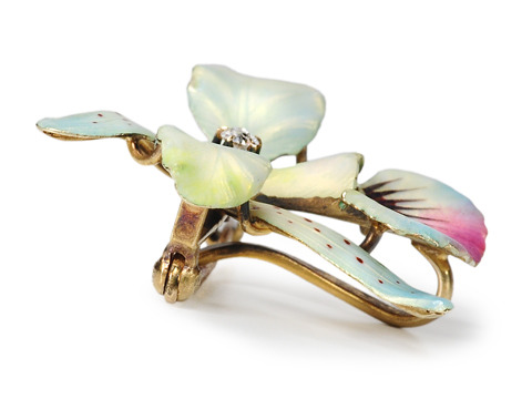 Rites of Spring:  Art Nouveau Orchid Brooch