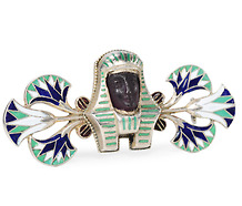 Egyptian Revival Enamel Silver Brooch