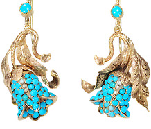 Antique Turquoise  Day Night Earrings