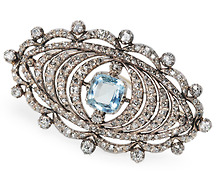 Victorian Aquamarine Diamond Brooch