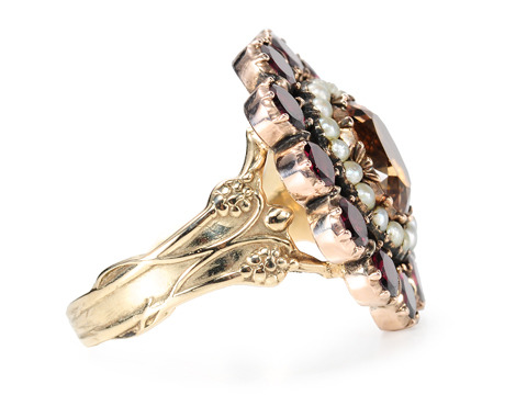 Antique Topaz Garnet Pearl Cluster Ring