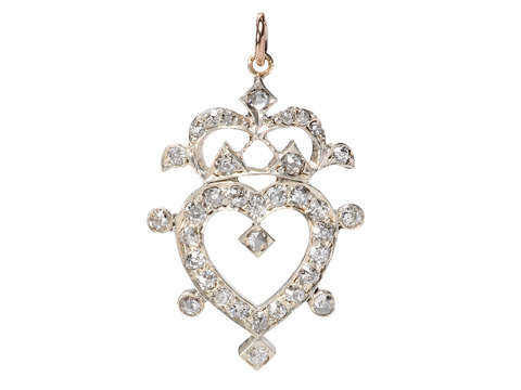 Victorian Diamond Set Heart & Crown Pendant