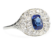 Art Deco Class: Sapphire Diamond Ring