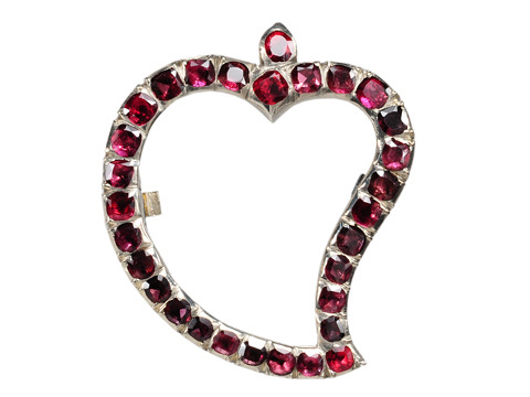 18th C. Garnet Witch's Heart Brooch