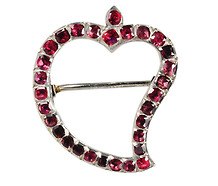 Garnet Witch Heart Brooch