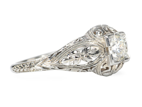 Signed Belais Solitaire Diamond Ring