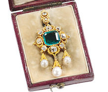 Superb Antique Emerald Diamond Pendant