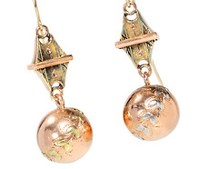 Ingenious Victorian Tri-Colored Gold Earrings
