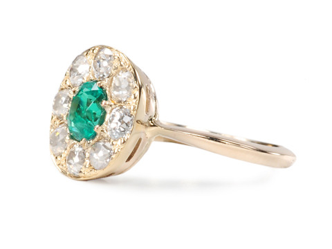 Classic Edwardian Emerald Diamond Cluster Ring
