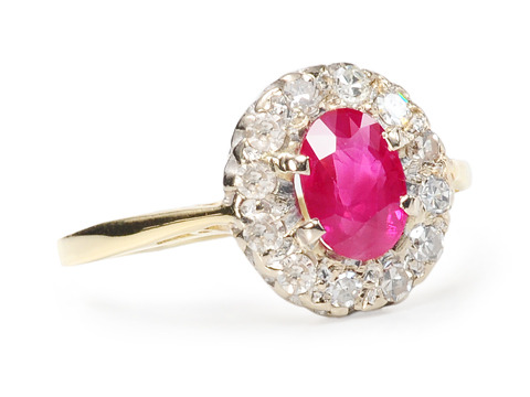 Luscious Ruby & Diamond Cluster Ring
