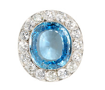 Stellar Antique Aquamarine & Diamond Brooch