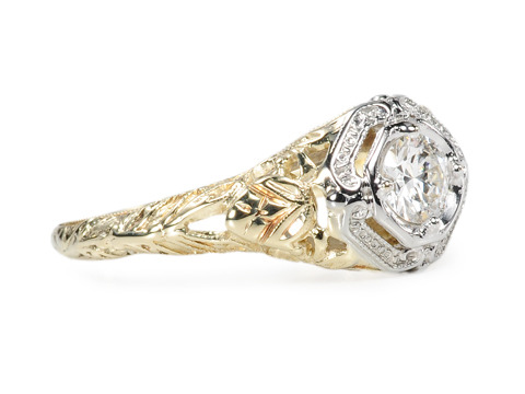 Two Color Gold Diamond Ring