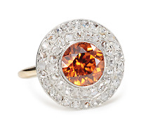 Art Deco Glow: Zircon & Diamond Cluster Ring