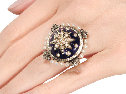 Alchemy: Blue Enamel & Pearl Ring
