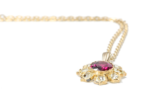 Flower Bright: Antique Garnet & Chrysoberyl Pendant