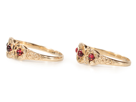 Pair of Edwardian Garnet Set Rings