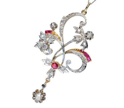 Lyrical Art Nouveau Diamond Ruby Pendant