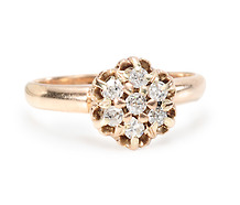 YG Small Diamond Cluster Ring