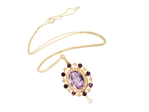 Amazing Grace: Antique Amethyst Pearl Pendant