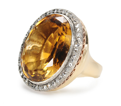 Grand Edwardian Citrine Diamond Ring