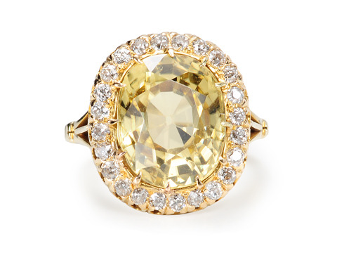 Scintillating Zircon & Diamond Antique Cluster Ring