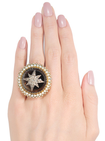 Bedazzling: Smokey Quartz Diamond & Pearl Ring