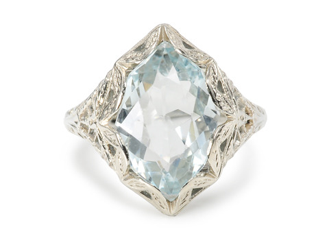 Fancy Cut Vintage Aquamarine Ring