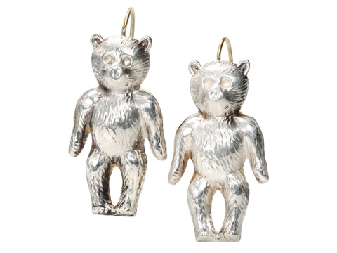 English Silver Teddy Bear Earrings