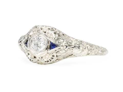 Darling Art Deco Diamond Sapphire Ring