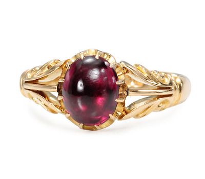 Fully Hallmarked Antique Garnet Ring