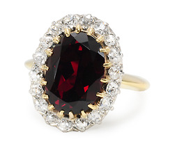 Vintage Wine: Garnet Diamond Cluster Ring