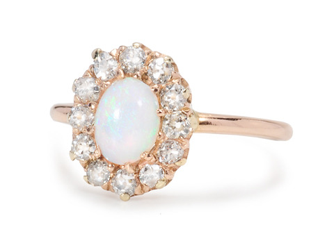 Edwardian Opal Diamond Cluster Ring