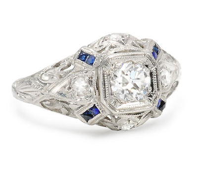 We Prefer: Art Deco Diamond Sapphire Ring