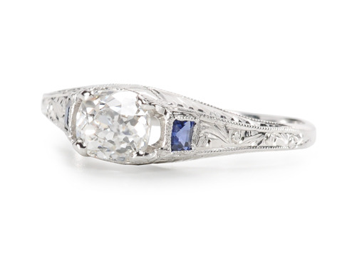 Hints of Blue - .62 c Diamond Vintage Ring
