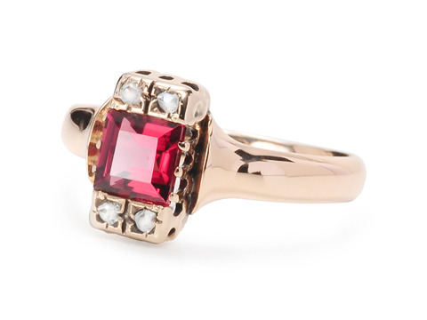 All Squared Away - Charming Garnet Ring