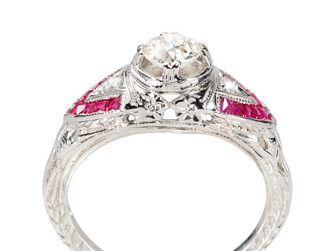 Melody in Crimson - Diamond & Ruby Ring