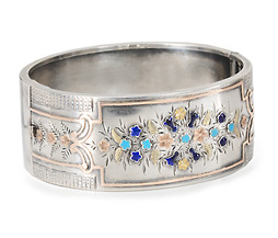 Turn of the 19th C. Sterling Enamel Bracelet