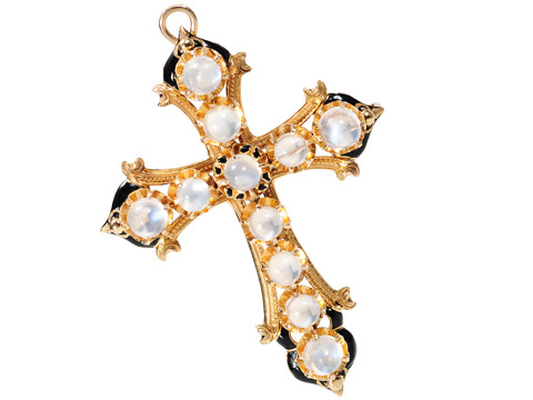 Victorian Moonstone Cross Pendant