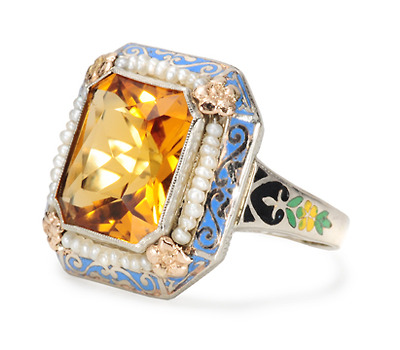 Art Deco Citrine & Pearl Ring