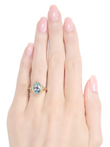 The Marquise: Pale Blue Aquamarine Ring