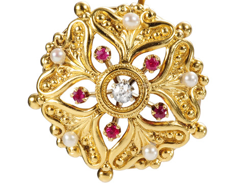 Sensual Ruby Diamond Antique Pendant