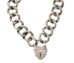 Antique Silver Link Bracelet with Heart Padlock