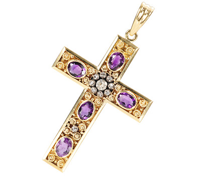 Large Amethyst & Diamond Cross