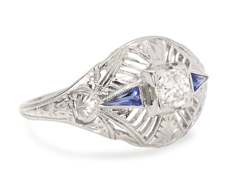 Dynamic Duo: Diamond Sapphire Ring