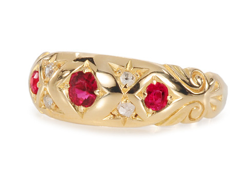 Antique English Gypsy Set Ruby Diamond Ring