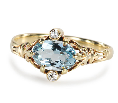 Imaginings: Aquamarine & Diamond Ring
