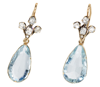 Victorian Diamond Aquamarine Drop Earrings