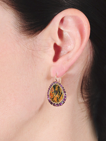 Georgian Initialed Agate Amethyst Earrings