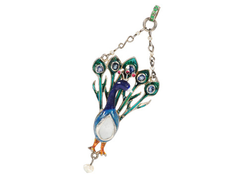 Art Deco Proud as a Peacock Pendant